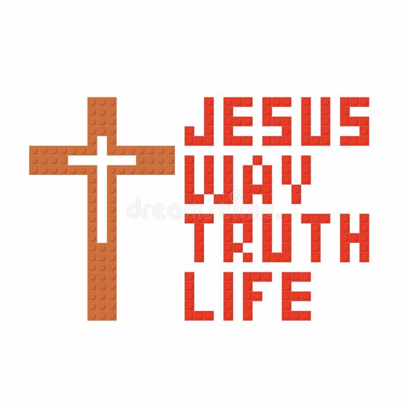 Kristen konst Färgrika gripa in i varandra plast- tegelstenar, plast- konstruktion Jesus är vägen, och sanning och livet stock illustrationer
