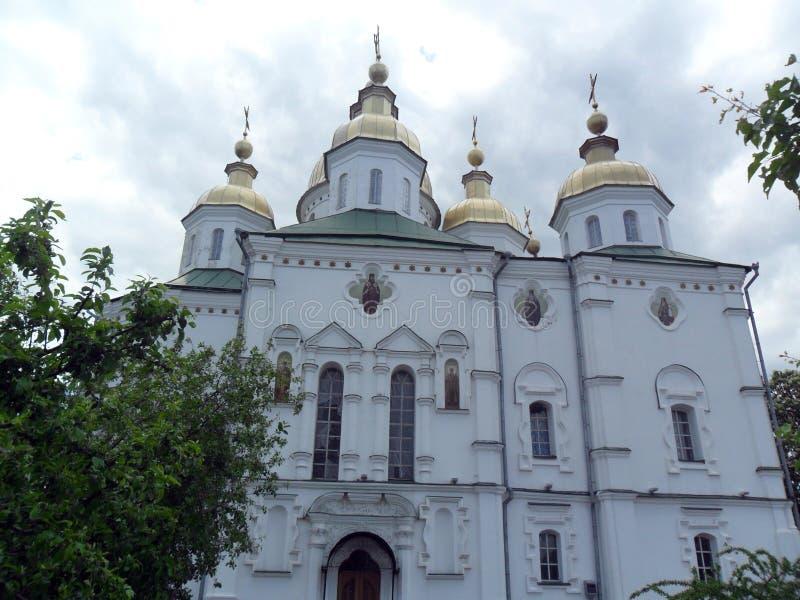 Kristen kyrka med guld- kupoler royaltyfri fotografi