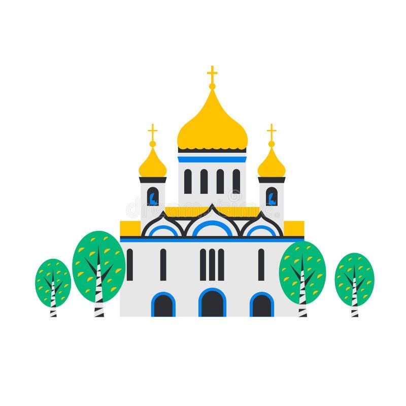 Kristen kyrka Ortodox kyrka, templet av Kristus frälsaren i Moskva, Ryssland Plant tecknad filmstilkapell med vektor illustrationer