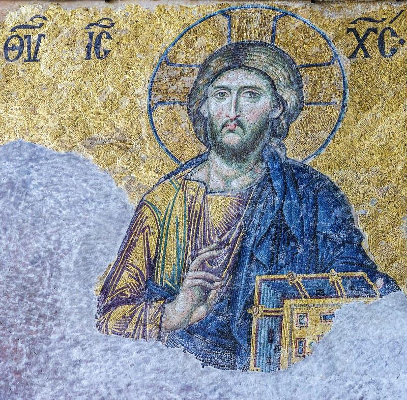 Kristen mosaiksymbol av Jesus Christ i domkyrkamoskén Hagia royaltyfri fotografi
