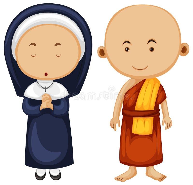 Download Kristen Nunna Och Buddistisk Munk Vektor Illustrationer - Illustration av thai, präst: 78731127