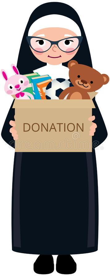 Kristen nunna som rymmer en ask av donationer med leksaker och böcker vektor illustrationer