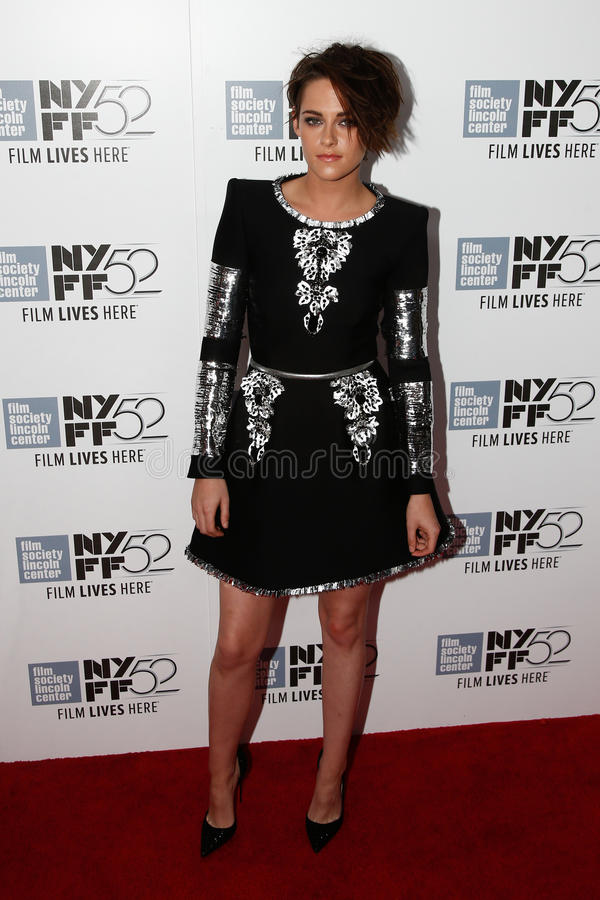 Kristen Stewart. NEW YORK-OCT 08: Actress Kristen Stewart attends the premiere of Clouds of Sils Maria at the 52nd New York Film Festival at Alice Tully Hall on royalty free stock image