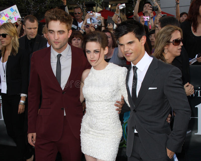 Kristen Stewart,Robert Pattinson,Taylor Lautner. Robert Pattinson, Kristen Stewart, and Taylor Lautner 2010 Los Angeles Film Festival - Eclipse Premiere Nokia stock image