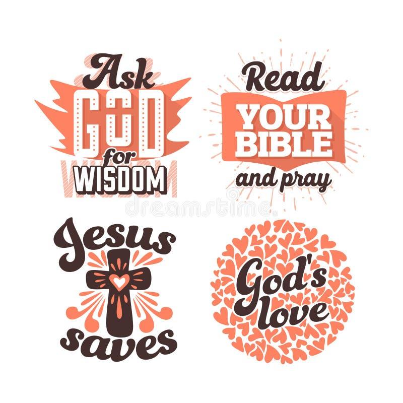 Kristen typografi och bokstäver Illustrationer av bibliska uttryck royaltyfri illustrationer
