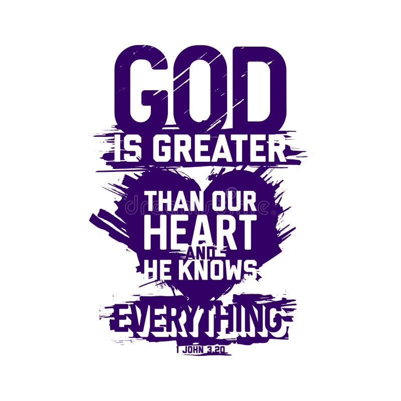 Kristen typografi och bokst?ver Biblisk illustration Guden är större än vår hjärta royaltyfri illustrationer