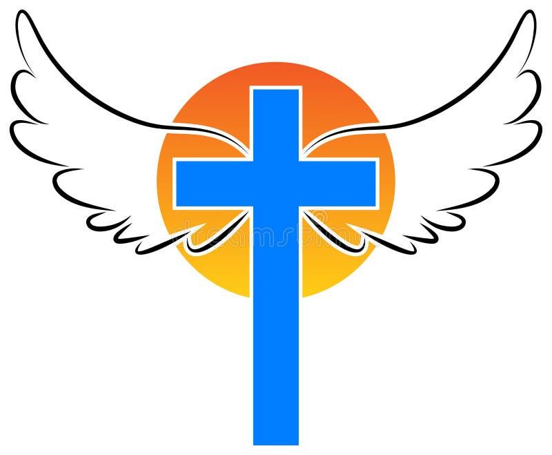 Kristendomenkors med ängelvingar royaltyfri illustrationer