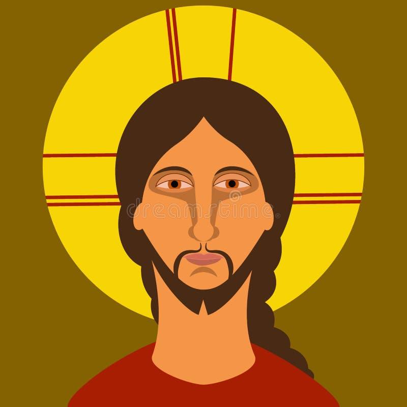Kristendomensymbol Måla av Jesus Christ i plan stil vektor illustrationer