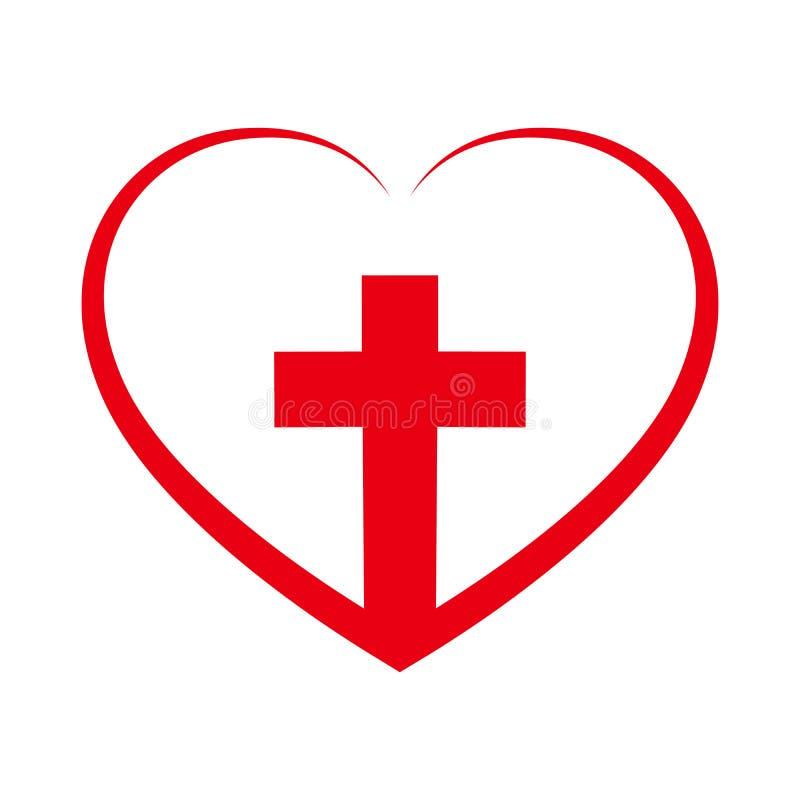 Kristenkors inom i hjärtan också vektor för coreldrawillustration royaltyfri illustrationer