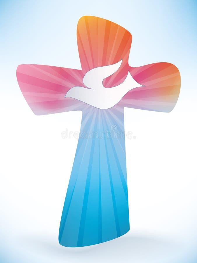 Kristenkors med duvan Symbol för helig ande på kulör bakgrund stock illustrationer
