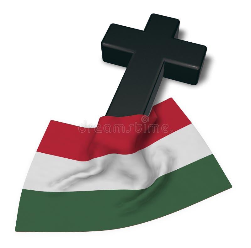Kristenkors och flagga av Ungern vektor illustrationer