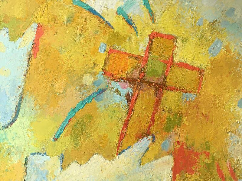 Kristet begrepp i handgjord stil på kanfasen arkivfoton