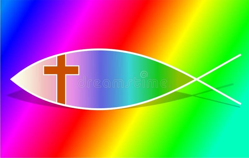 kristet fisksymbol stock illustrationer