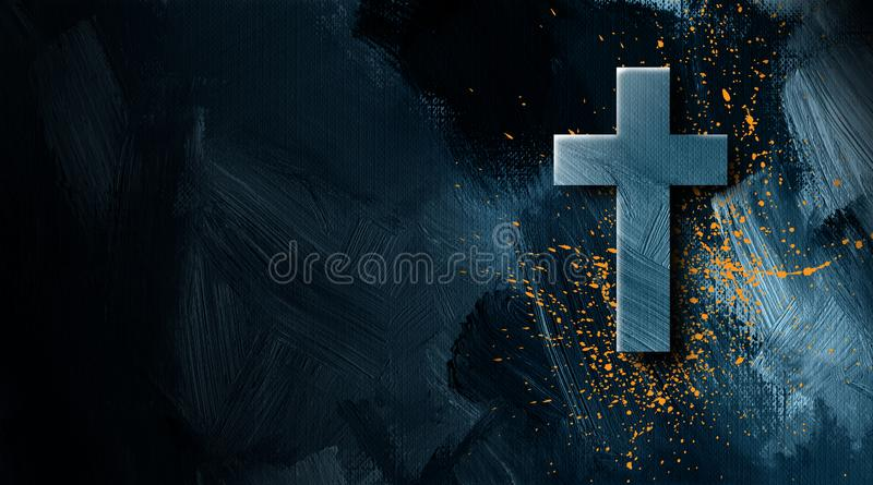 Kristet kors med guld- målarfärg att plaska grafisk bakgrund stock illustrationer