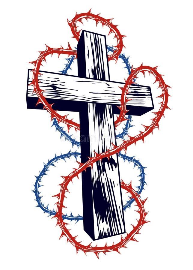 Kristet kors med logo eller tatueringen för religion för slåntaggvektor royaltyfri illustrationer