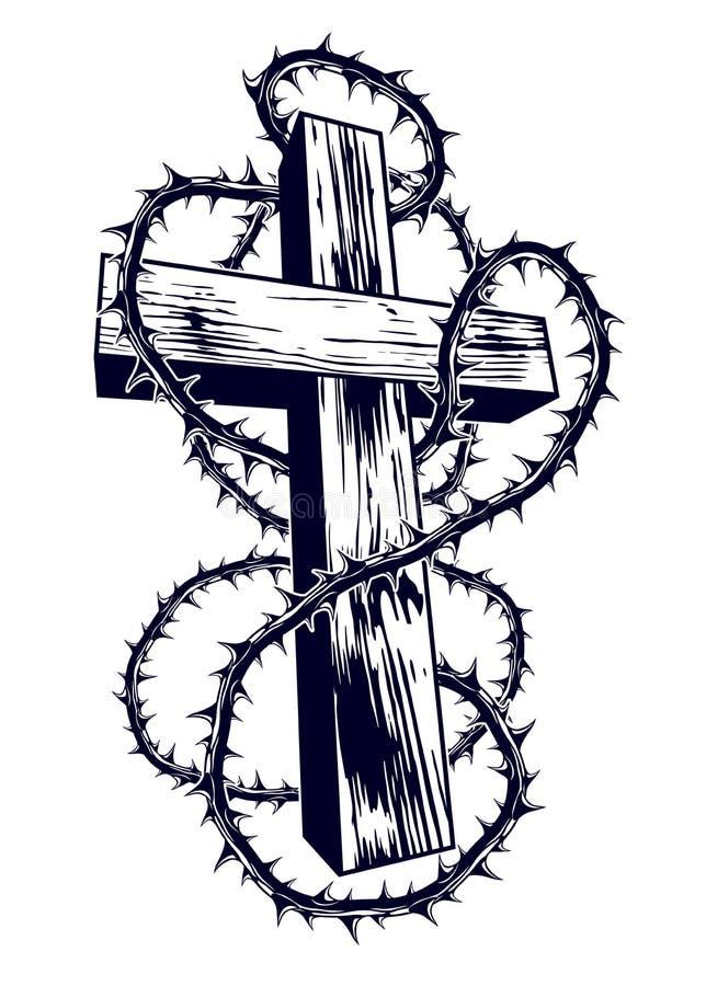 Kristet kors med logo eller tatueringen f?r religion f?r sl?ntaggvektor royaltyfri illustrationer