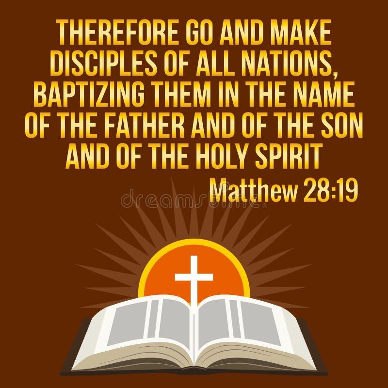 Kristet motivational citationstecken Bibelvers Arg och glänsande sol stock illustrationer