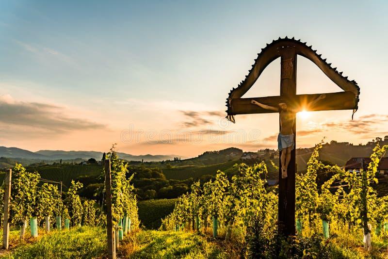 Kristet träkors med diagramet av Jesus Christ på vingårdar på den Slovenien - Österrike gränsen arkivbild