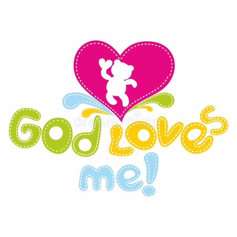 Kristet tryck Guden älskar mig vektor illustrationer