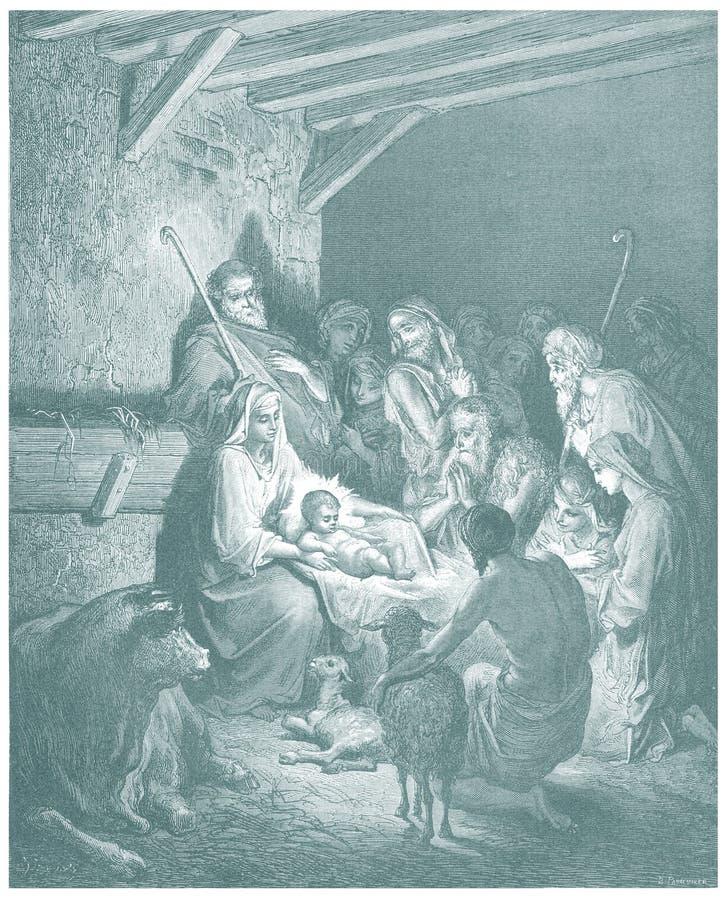 Kristi födelse av den Jesus illustrationen skissar