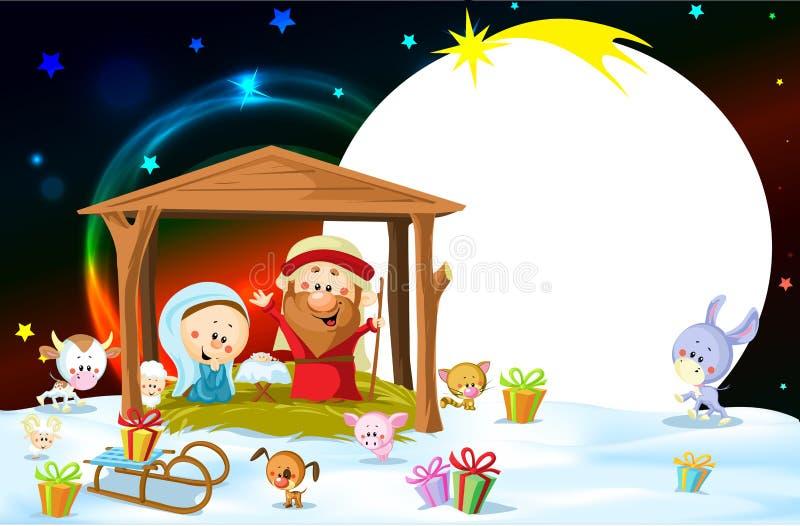 Kristi födelse i Betlehem med djur - oval ram för julvektor vektor illustrationer