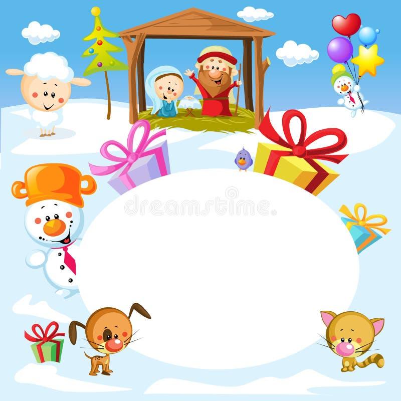 Kristi födelse i Betlehem med djur - oval ram för julvektor stock illustrationer
