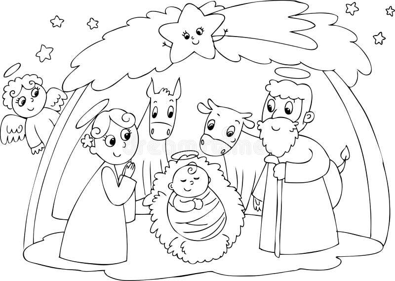 Kristi födelse: Mary Joseph och Jesus royaltyfri illustrationer