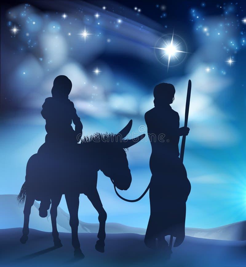 Kristi födelse Mary och Joseph Christmas Illustration stock illustrationer