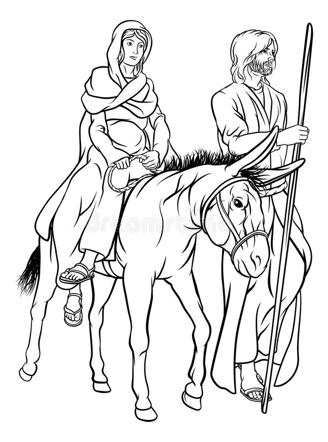 Kristi födelse Mary och Joseph Christmas Illustration vektor illustrationer
