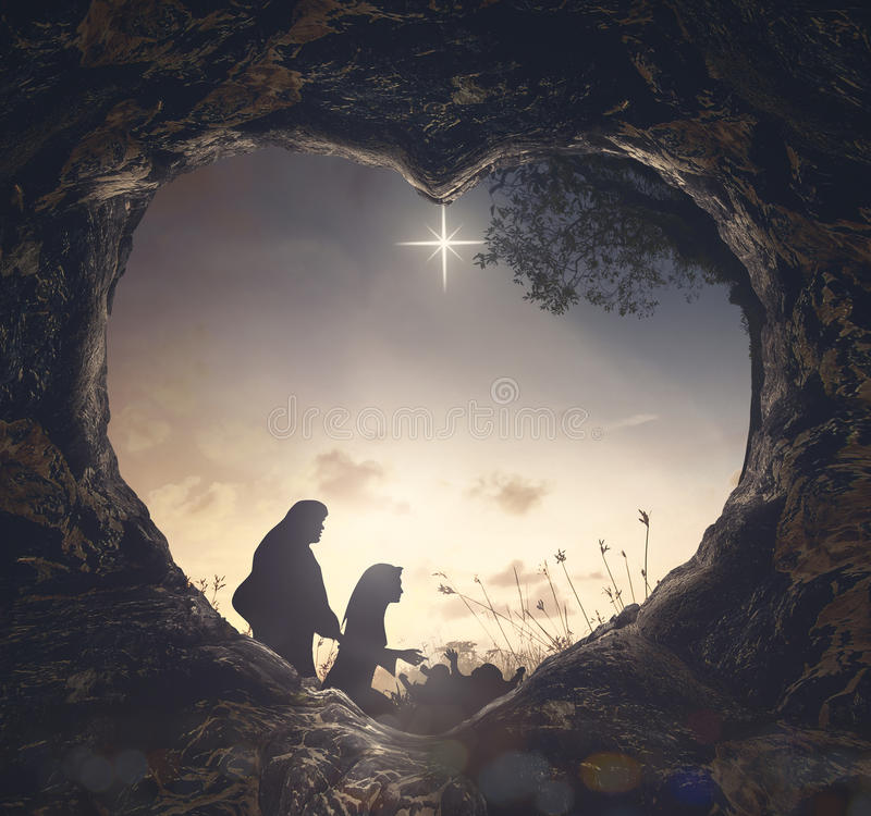 Kristi födelseberättelsebegrepp arkivfoton
