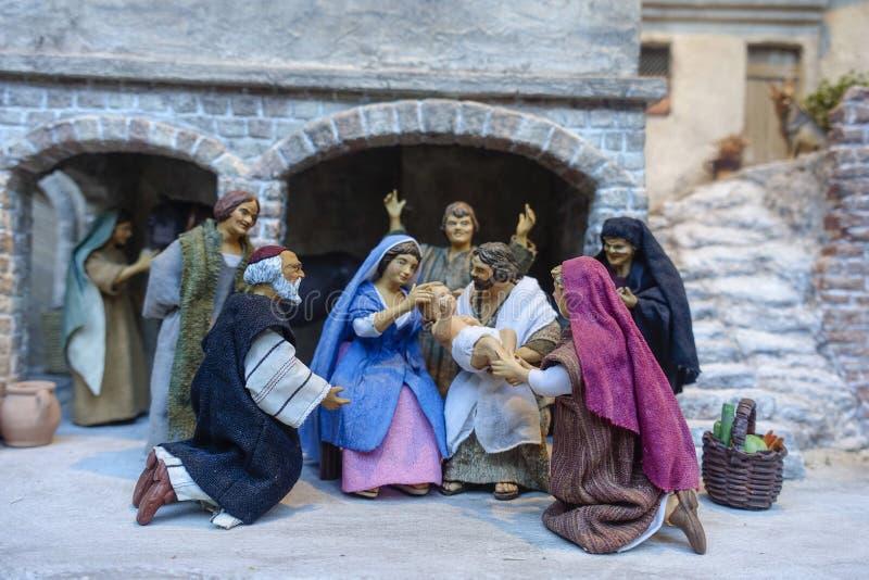 Kristi födelsediagram, jul marknadsför, Nuremberg, mellersta Franconia, royaltyfria foton
