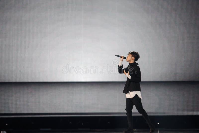Kristian Kostov from Bulgaria Eurovision 2017. KYIV, UKRAINE - MAY 12, 2017: Kristian Kostov from Bulgaria at the Grand Final rehearsal during Eurovision Song stock images