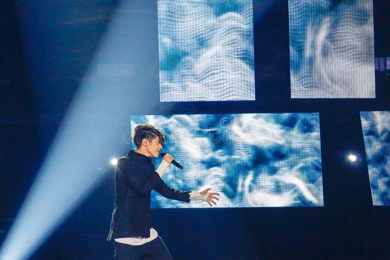 Kristian Kostov from Bulgaria Eurovision 2017. KYIV, UKRAINE - MAY 12, 2017: Kristian Kostov from Bulgaria at the Grand Final rehearsal during Eurovision Song stock photography