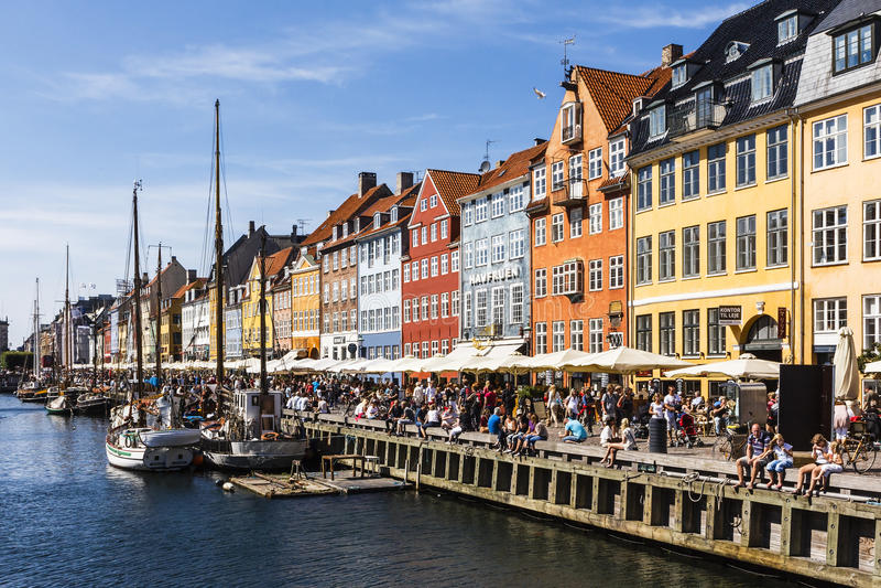 Kristianhavn i Köpenhamnen, Danmark. royaltyfria bilder