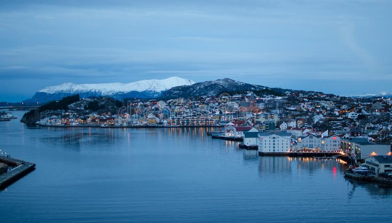 Kristiansund: Innlandet and Nordlandet in Norway. Town in More and Romsdal. At Night. royalty free stock photos