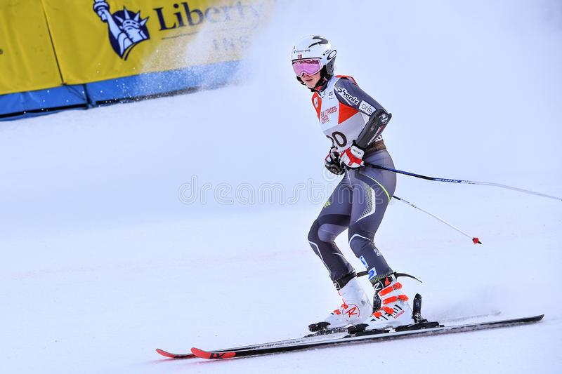 Kristin Lishahl of Norway competes in the first run of the Giant Slalom. KILLINGTON, VERMONT - NOVEMBER 24: Kristin Lishahl of Norway competes in the first run royalty free stock photos