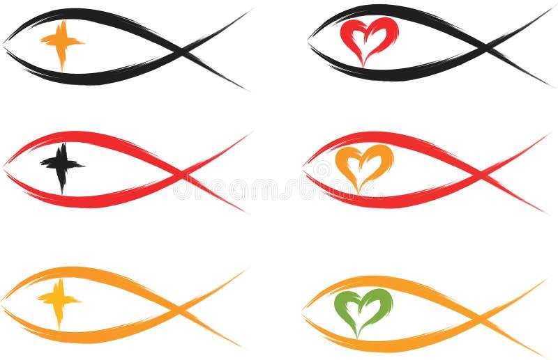 Kristna fisksymboler vektor illustrationer