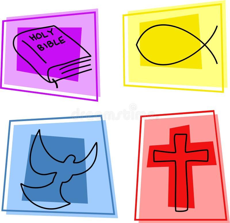 kristna symboler stock illustrationer