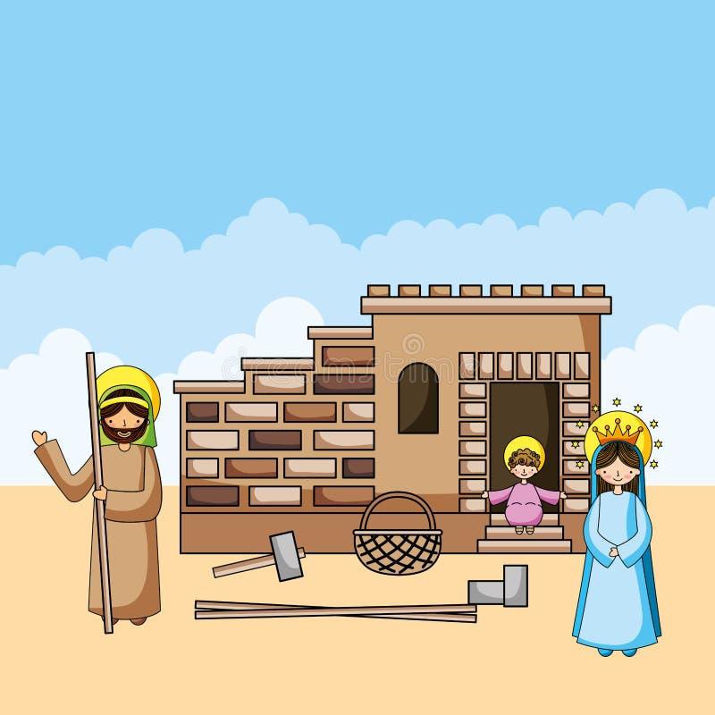 Kristna tecknade filmer för helig familj stock illustrationer