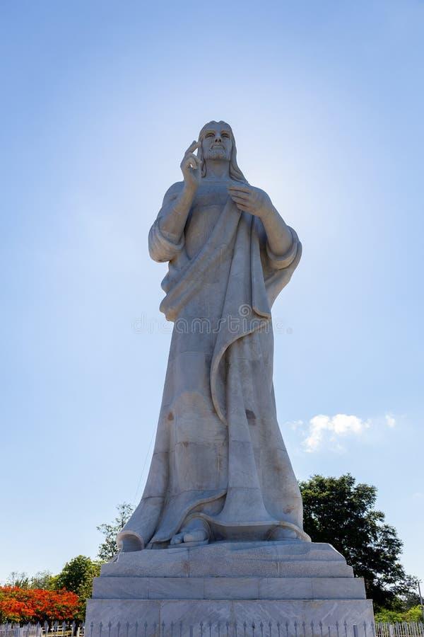 Kristus av Havana Cuba i Carrara marmorerar sakral hjärta av Jesus fotografering för bildbyråer