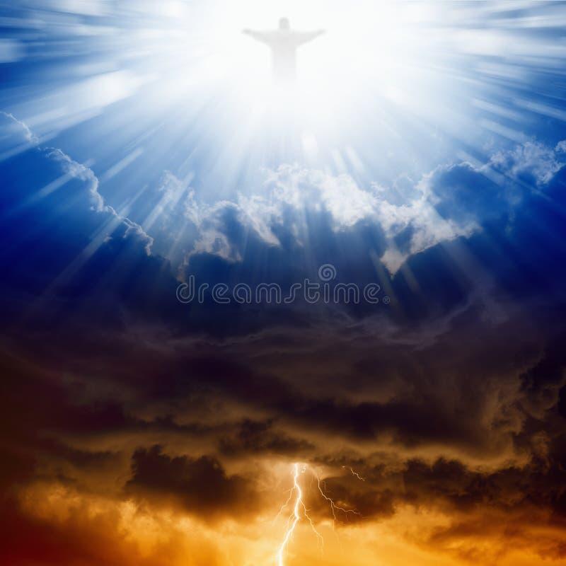 Kristus, himmel och helvete arkivbild