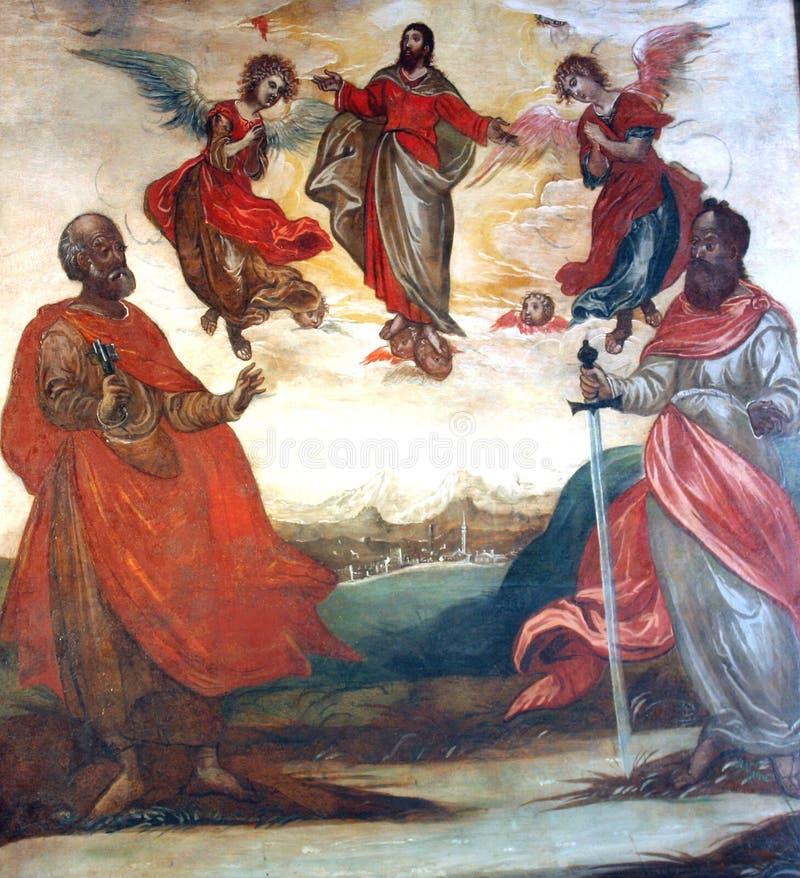 Kristus i himmel med helgon Peter och Paul royaltyfri illustrationer
