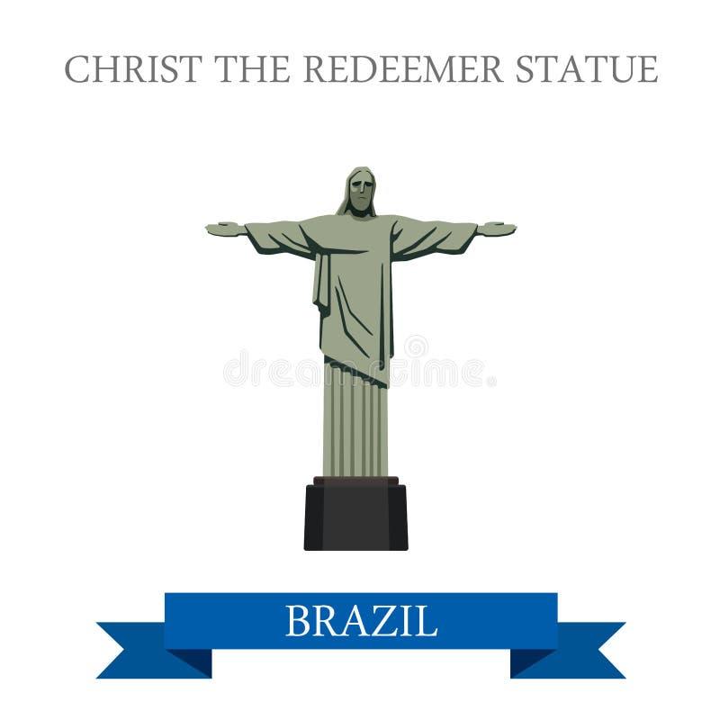 Kristus lägenheten för FörlossarestatyRio de Janeiro Brazil vektor stock illustrationer