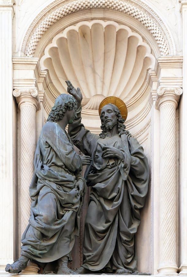 Kristus och St Thomas arkivfoto