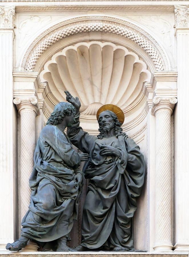 Kristus och St Thomas royaltyfri bild
