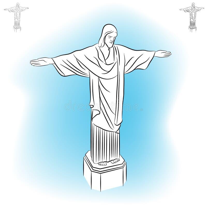KristusRedeemerstaty. vektor illustrationer