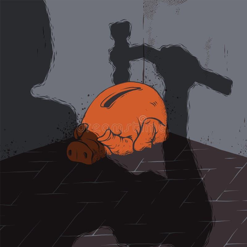 Krisvektorillustration Skrämd spargris och skugga av en man med hummeren Goda för artikel om finanskris royaltyfri illustrationer