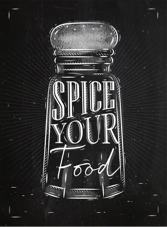 Krita för krydda för affischpepparsvängbart hjul royaltyfri illustrationer