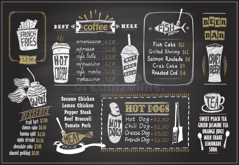Krita på designer för en svart tavlameny ställde in - efterrätter menyn, fiskmenyn, te, kaffe, varmkorvar, ölstång vektor illustrationer