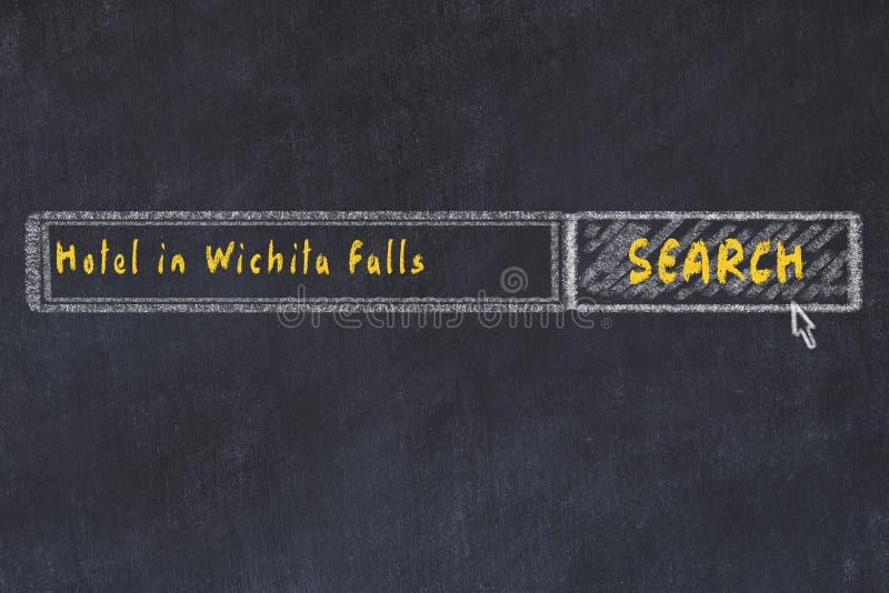 Krita skissar av sökandemotorn Begrepp av sökande och att boka av ett hotell i Wichita Falls royaltyfri illustrationer